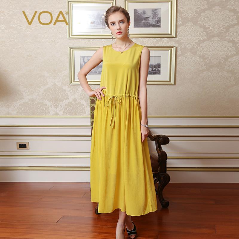 VOA云雀黄重磅丝绸顺纡拼接圆领无袖抽绳腰宽松肌理舒适连衣裙