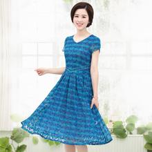 中年人蕾丝裙40-50高档妈妈夏装中年妇女夏季裙子气质修身连衣裙
