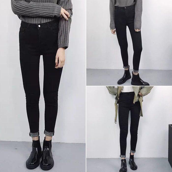 2017 autumn and winter new Slim was thin high waist skinny jeans Korean black feet pencil trousers female students