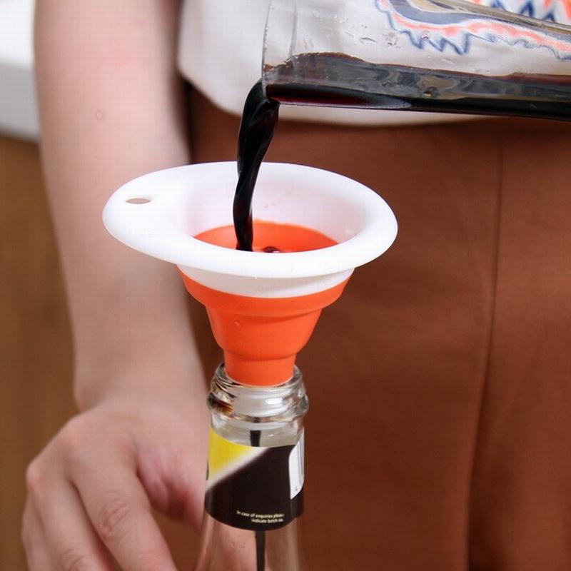 家用可挂伸缩硅胶加长漏斗 多用途灌装酒壶油瓶大口漏壶漏嘴漏斗
