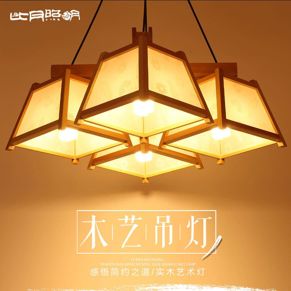 比月日式创意简约樟子松木吊灯6192