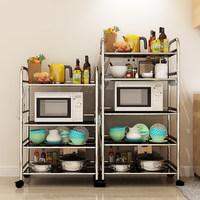 亿家达厨房置物架落地 微波炉置物架不锈钢架子收纳架 厨房多层架