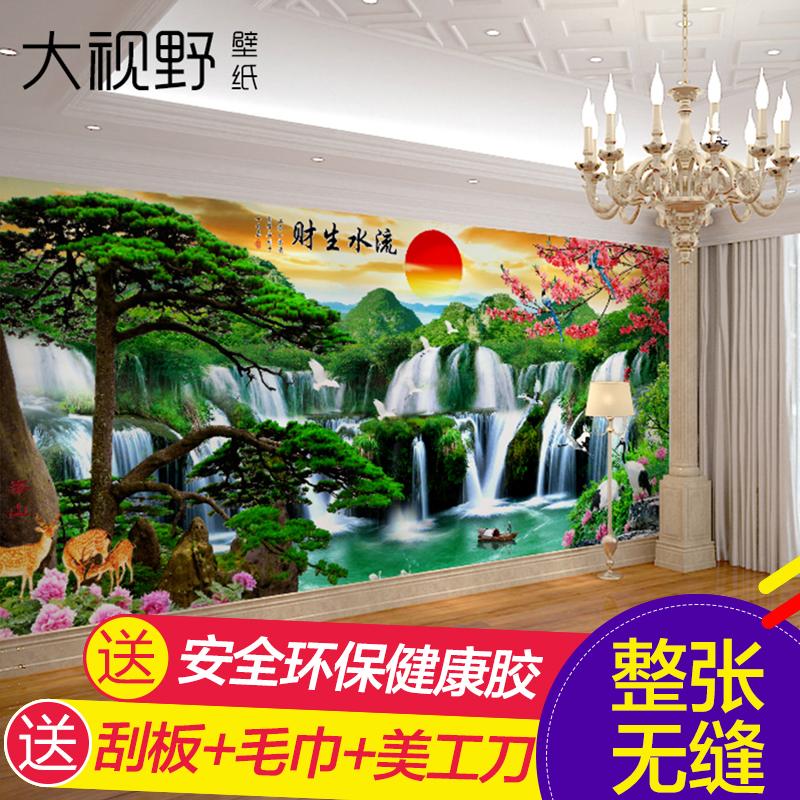 大视野现代中式流水生财壁画15227075