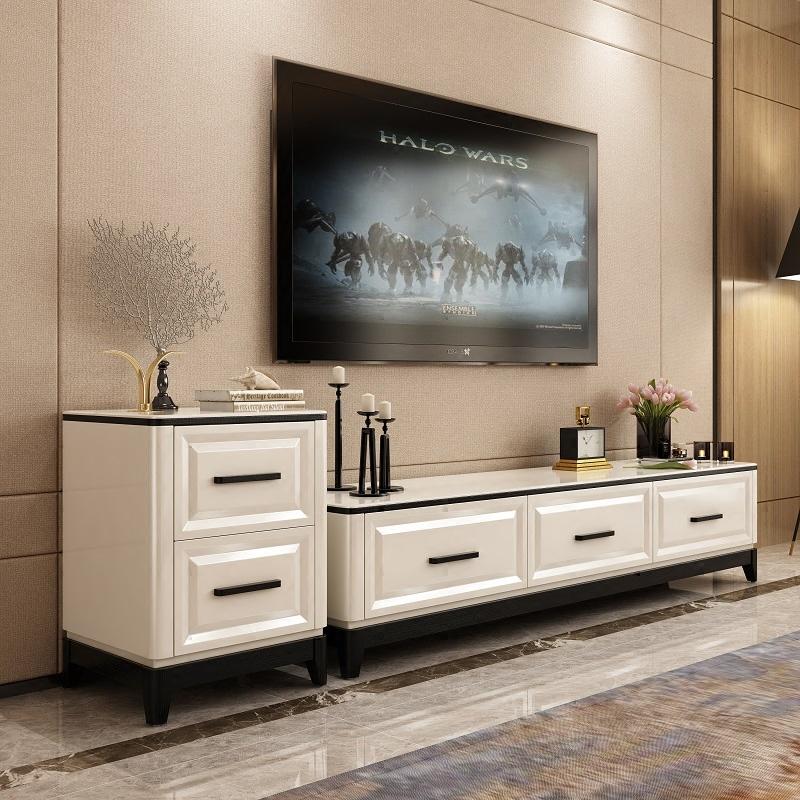 简约白色高端大气客厅家具电视柜储物柜时尚大小户型白色地柜矮柜