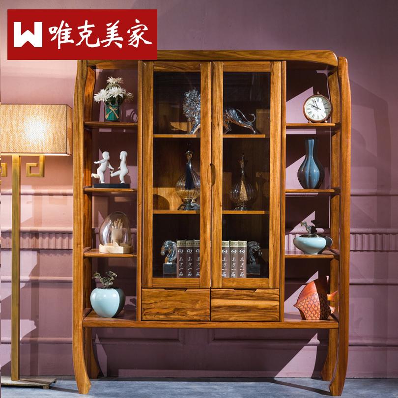 唯克美家乌金木带玻璃门书柜WUM322