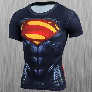 英雄t恤超人短袖速干紧身衣跑步健身运动t恤透气吸汗薄上衣夏季男