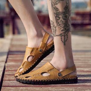 2017新款夏季男士凉鞋男真皮两用沙滩鞋休闲男鞋韩版凉拖男款英伦