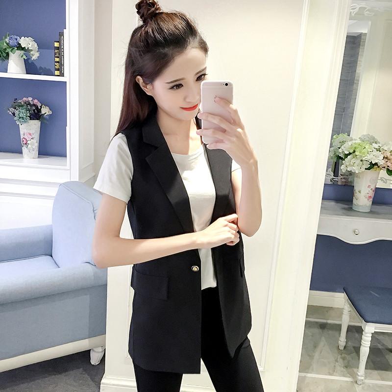 2018春秋新中长款西装领马甲女韩版修身黑色无袖背心马夹外套坎肩