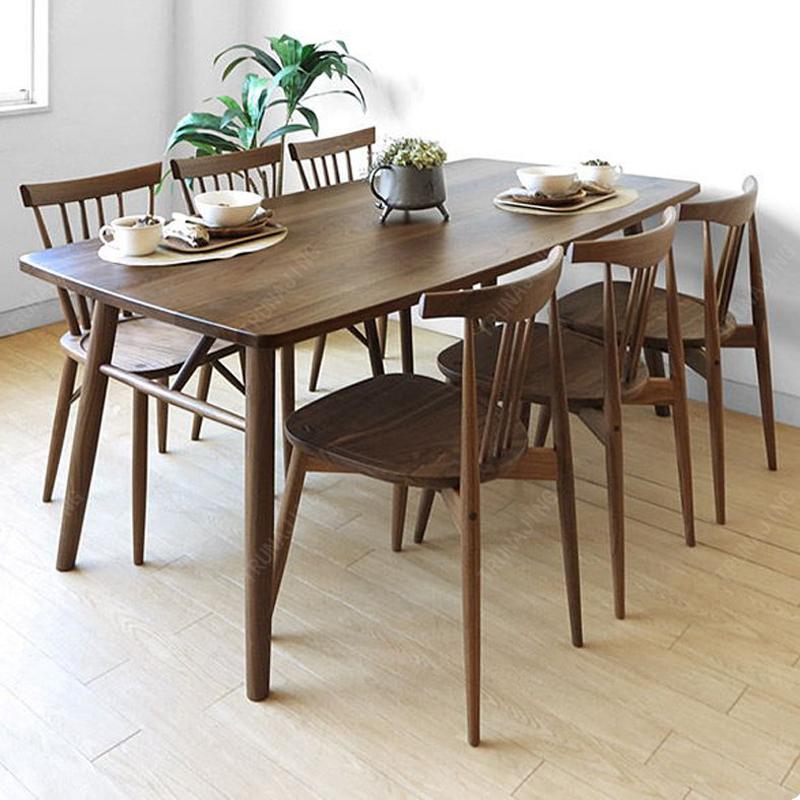 北美黑胡桃木工作台北欧风格全实木餐桌简约现代原木大板桌电脑桌