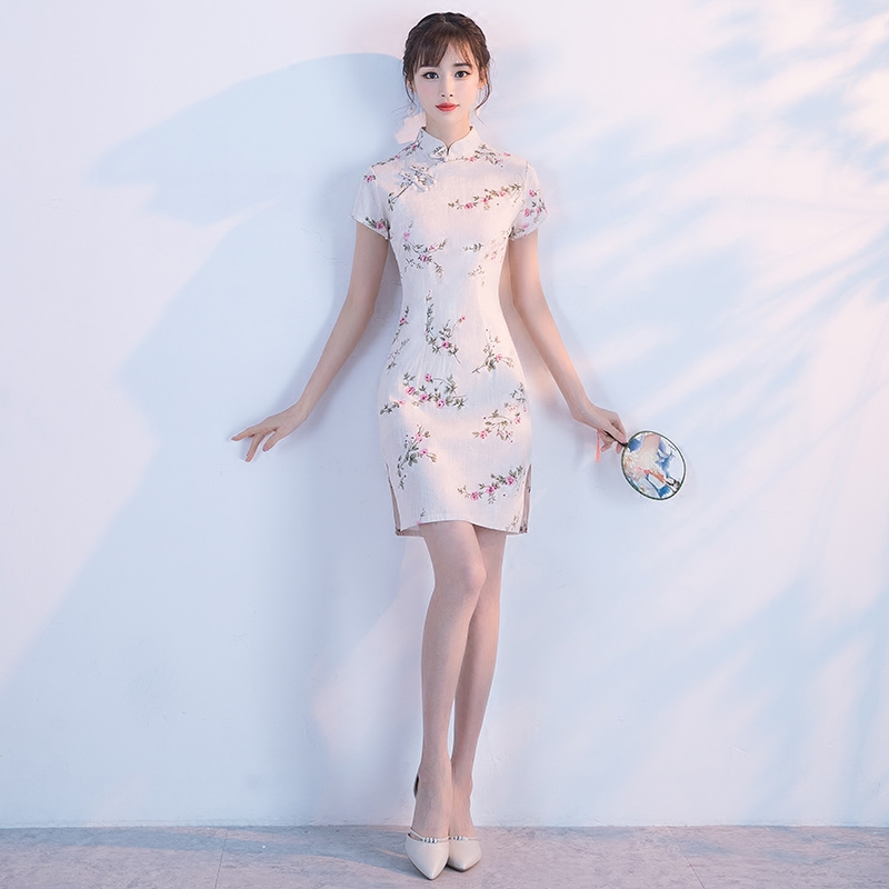 低领改良旗袍 时尚日常少女气质淑女清新学生连衣裙 中国风