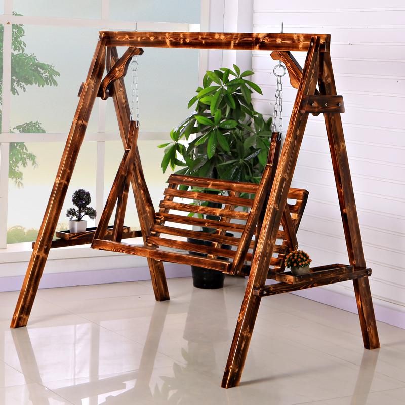 佰森鸿 实木摇椅秋千吊椅阳台家用摇篮椅室内防腐木网红双人藤椅