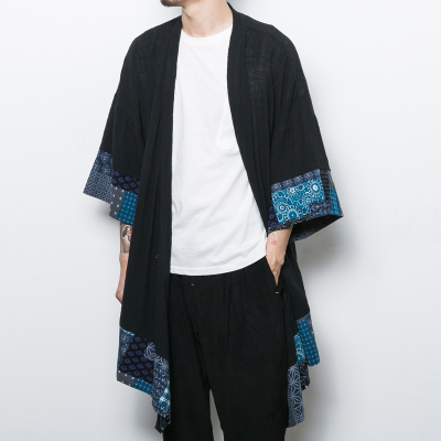 There is Chinese style Tang suit Hanfu men's clothing Chinese style men's clothing thin coat spring and summer national wind stitching clothing men's retro