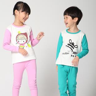 南极人儿童睡衣薄款夏季棉绸长袖中大童男孩女童宝宝绵绸空调家居服套装