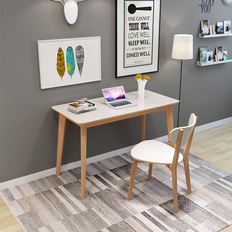 2平米 北欧电脑桌台式家用简约办公桌写字台卧室现代简易书桌实木小桌子
