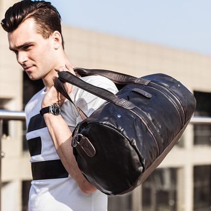YOK休闲手提包单肩包圆筒包男士健身包训练男包运动旅行行李包女