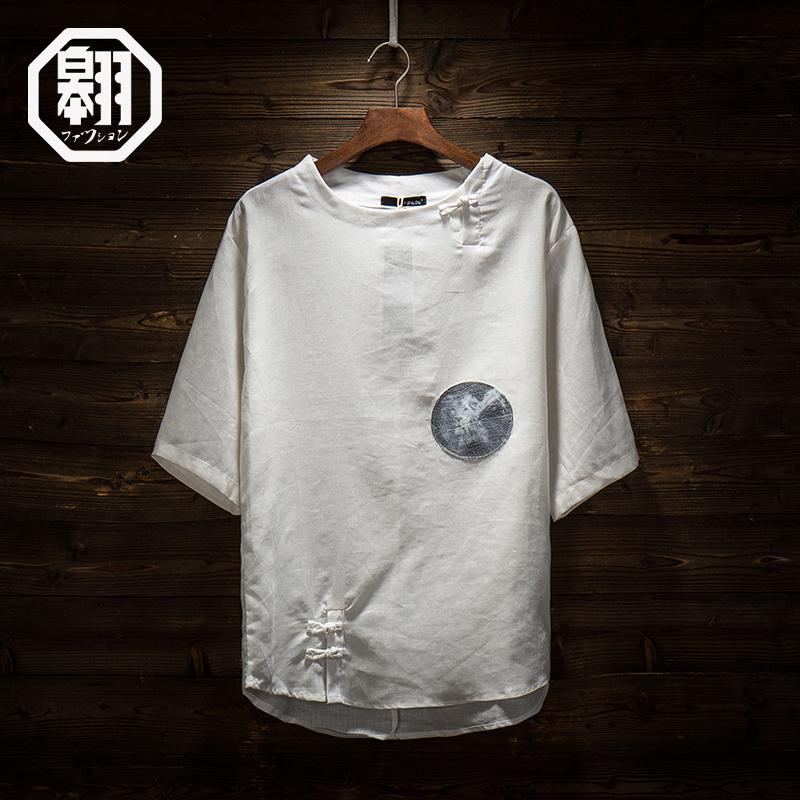原创中国风男装文艺青年复古盘扣中袖棉麻T恤潮男亚麻七分短袖夏