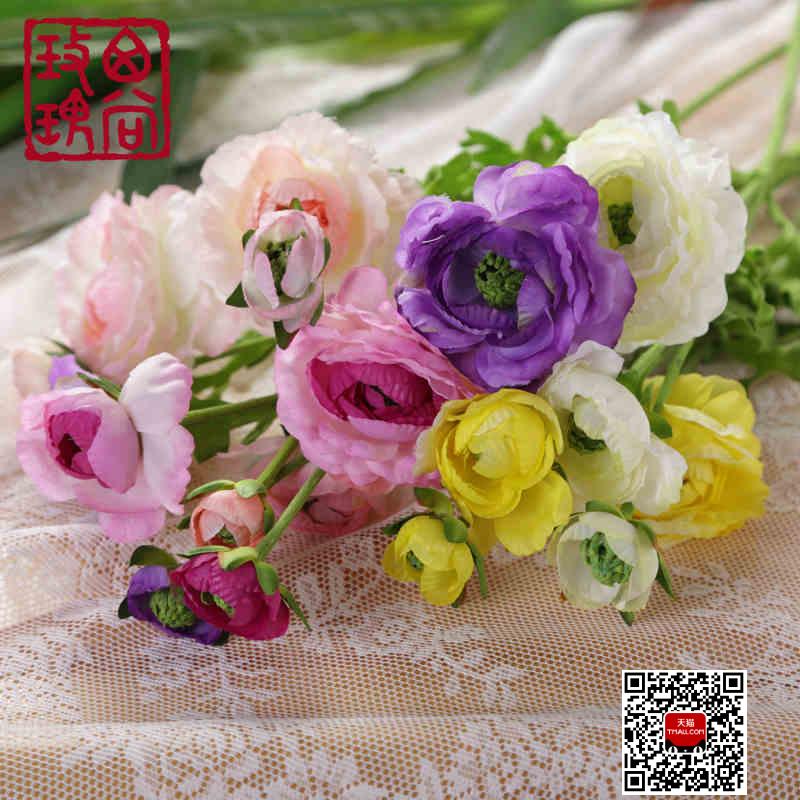 西尚玫瑰仿真假花三头陆莲