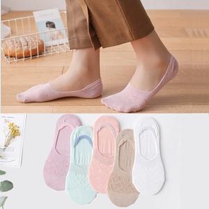 5双纯棉隐形袜女袜子夏季薄款浅口纯色防滑硅胶防臭吸汗单鞋韩国