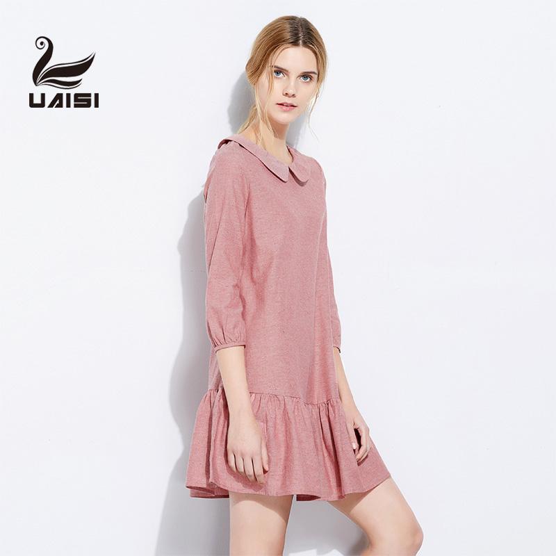 2017春夏季女装棉麻连衣裙