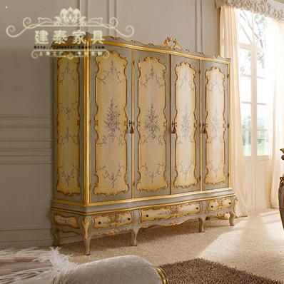 建泰欧式实木2米8大衣柜彩绘开门qq002
