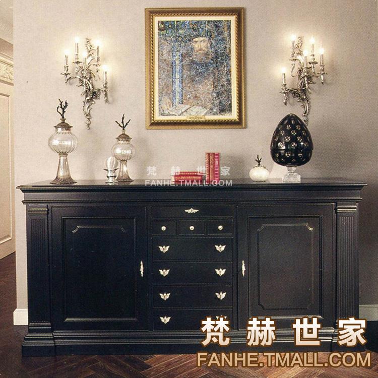 梵赫美式黑色木纹装饰柜f26275