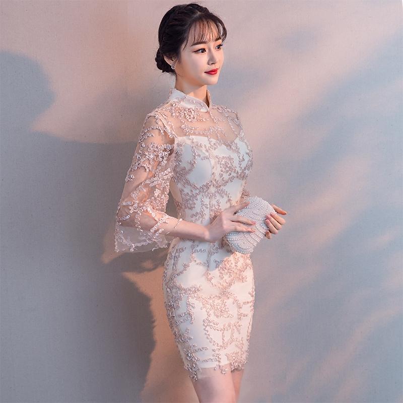 改良旗袍秋季2018新款少女短款修身时尚现代年轻中国风中袖连衣裙