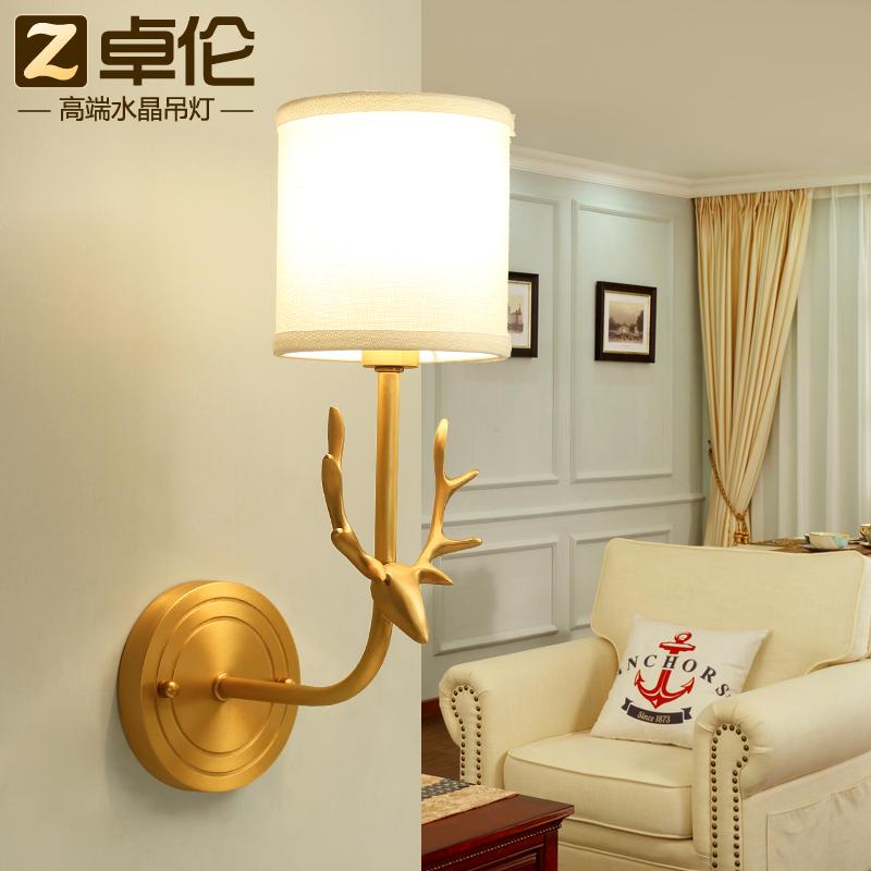 卓伦全铜美式乡村鹿头壁灯