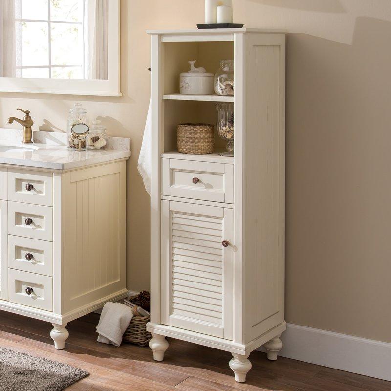 美式浴室柜边柜卫生间实木立柜储物柜收纳柜侧柜落地高柜置物柜