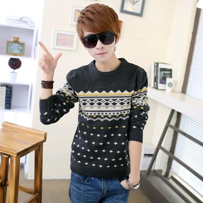 Men's new round neck sweater youth Korean casual sweater cotton men's mosaic jacquard sweater autumn
