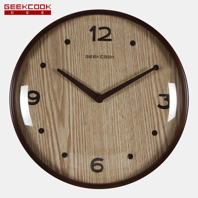 极客库中式实木质挂钟GK100072