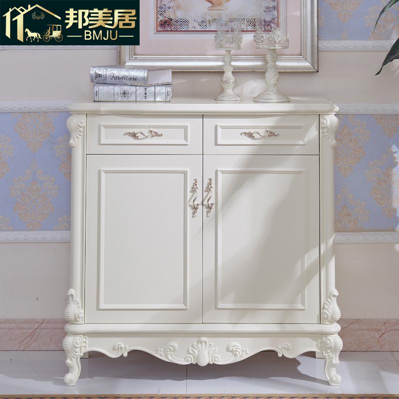 邦美居欧式鞋柜白色实木雕花两门306#