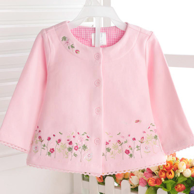 18 spring and autumn new children's wear cotton cardigan baby long-sleeved embroidery jacket female baby shirt 0-3 years old