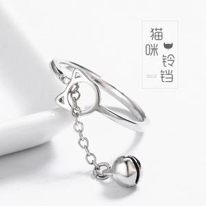 原创铃铛猫咪S925纯银戒指韩版小清新铃铛食指环可爱学生百搭饰品