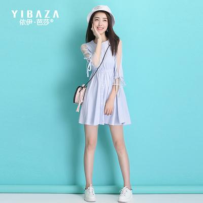 收腰七分袖单排扣条纹连衣裙修身显瘦2017春季新款甜美小清新女装