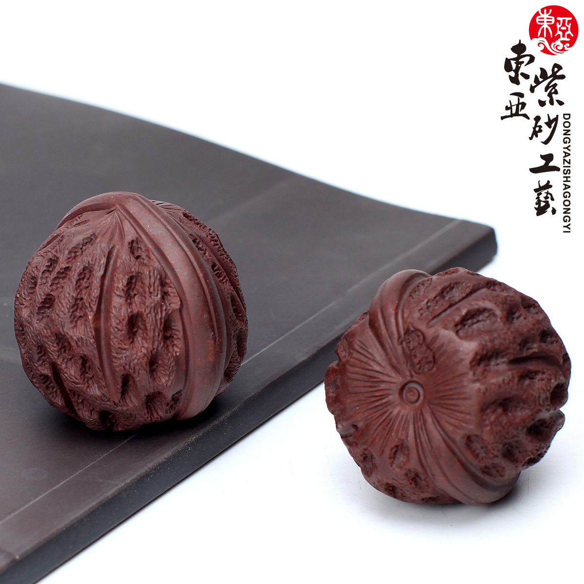 东亚手工宜兴紫砂茶宠摆件桔色一个