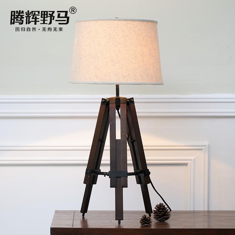 腾辉野马美式可调实木橡木台灯 T190