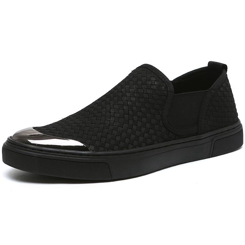 秋季帆布鞋男士豆豆潮鞋子休闲一脚蹬懒人布鞋韩版板鞋乐福鞋男鞋
