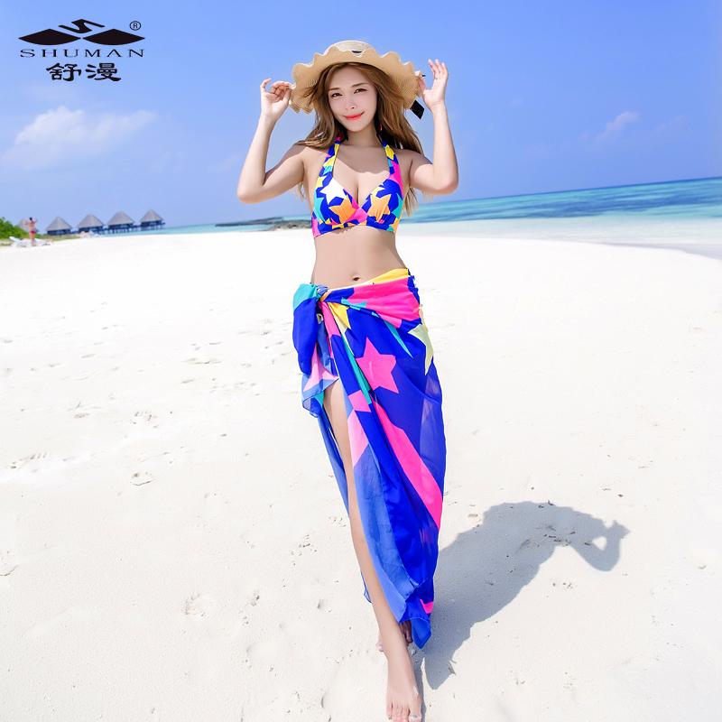 泳衣女三件套分体裙式小胸聚拢保守遮肚显瘦性感韩国小香风游泳衣