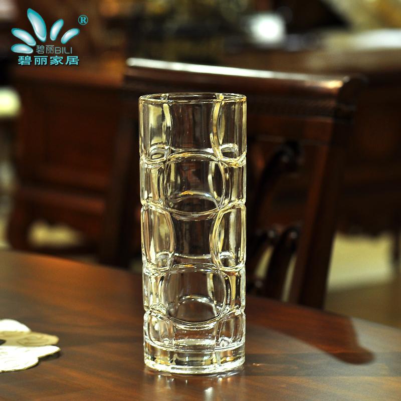 碧丽透明玻璃直筒花瓶