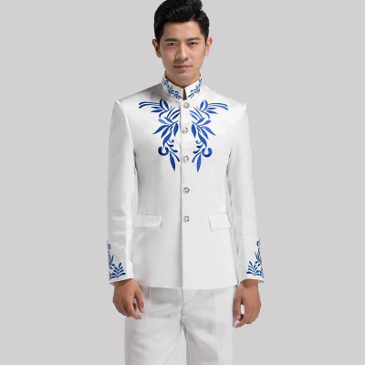Standing collar embroidery Chinese tunic costume, men's stage chorus costume singer host dress performance costume.
