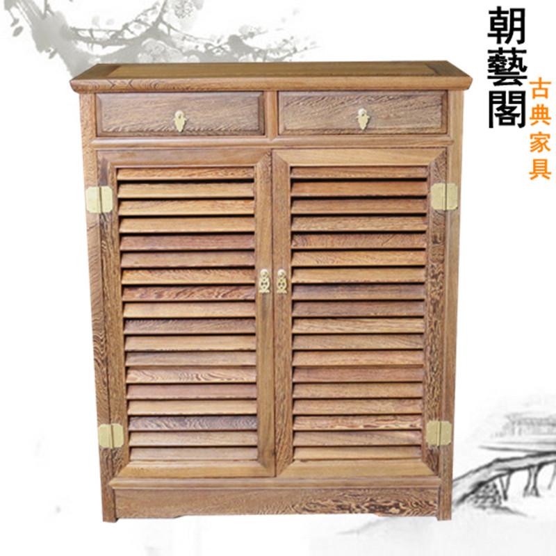 朝艺阁红木鸡翅木中式百叶柜cyg-920