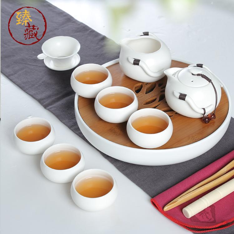 臻藏茶具陶瓷功夫茶具竹制陶瓷茶盘定窑日式亚光瓷