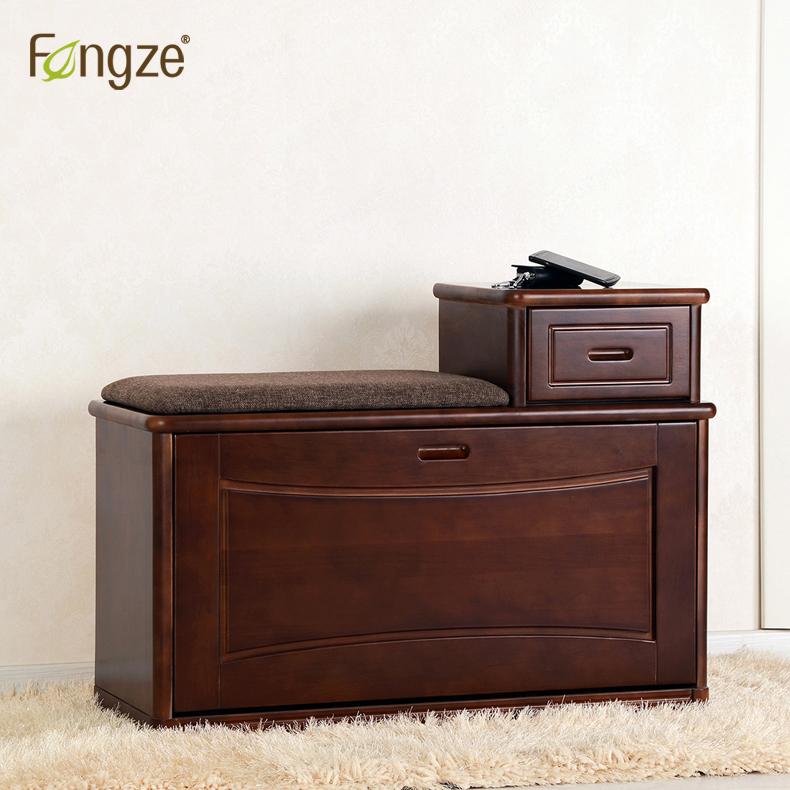 Fengze丰泽家居简约换鞋凳实木储物白色现代翻斗穿鞋凳FZ-803