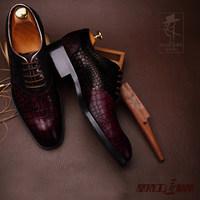 佐拉奴男鞋秋季真皮高档鳄鱼纹牛皮鞋子 男士皮鞋英伦商务正装鞋