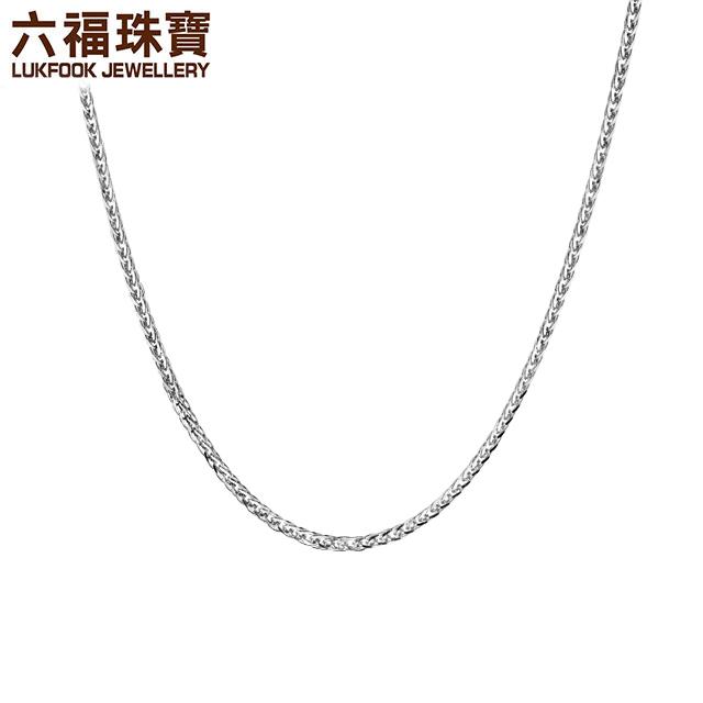 六福珠宝18K金项链女玫瑰金项链彩金素链百搭肖邦链L18TBKN0021W