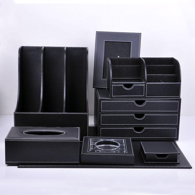 雅臣仕黑色皮革办公8件套创意文件架
