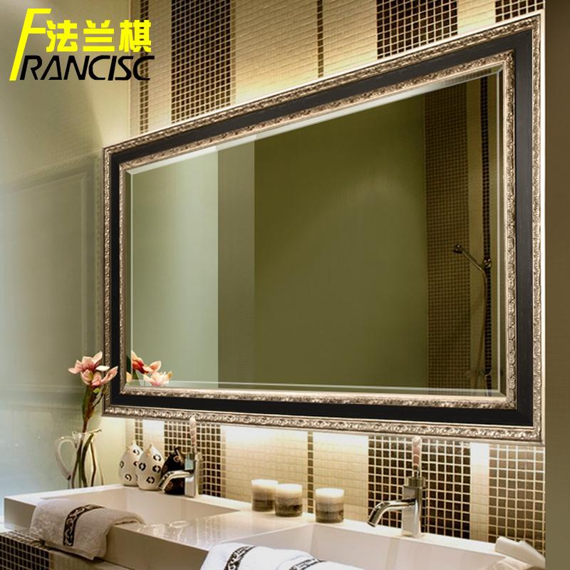 法兰棋欧式壁挂木框卫浴镜镜子K8586
