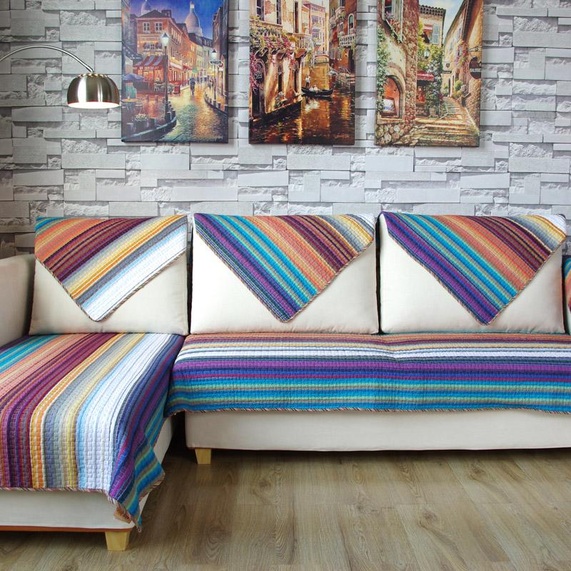莫耐河色织地中海双面条纹布艺沙发垫2029s