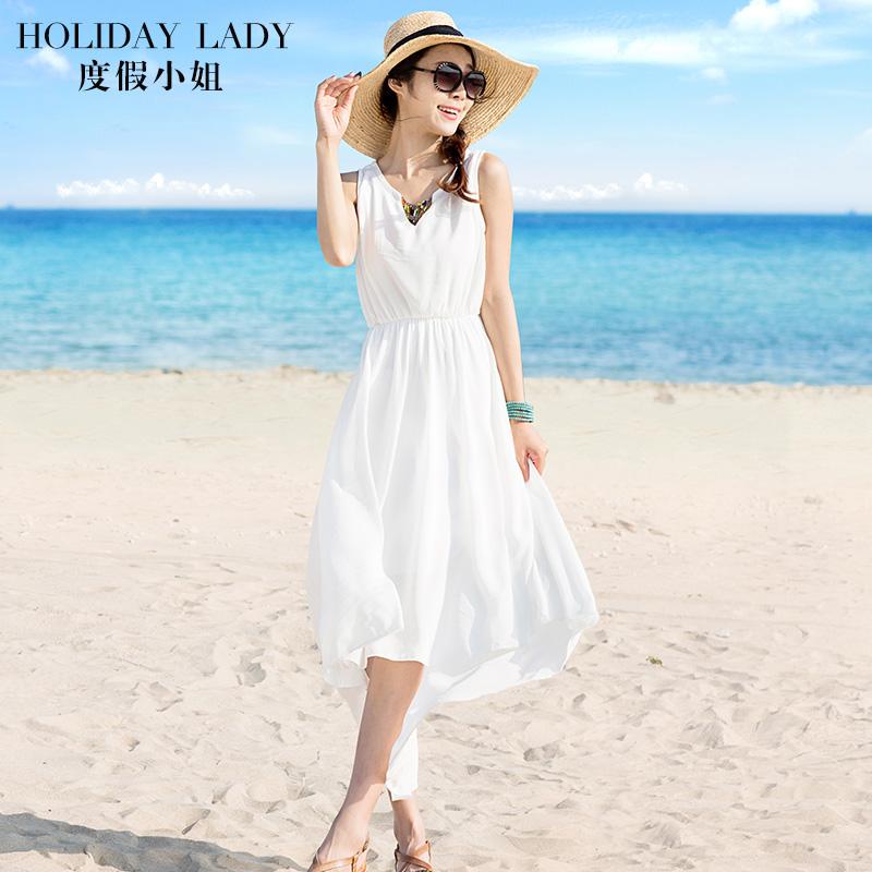 度假小姐白色连衣裙仙女夏波西米亚海边海滩巴厘岛沙滩裙2018新款