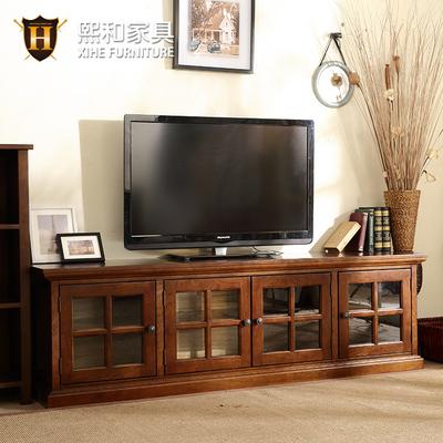 实木电视柜美式简约客厅家具储物柜落地柜边柜影视地柜水性漆熙和
